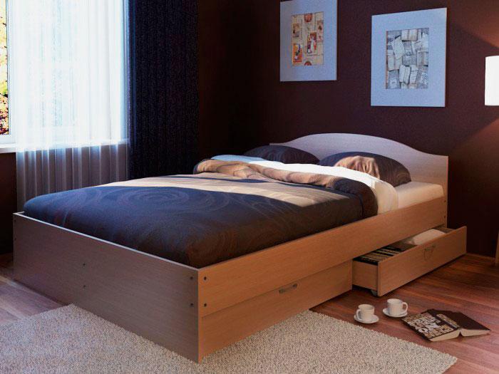 Двуспальная кровать с выкатным ящиком