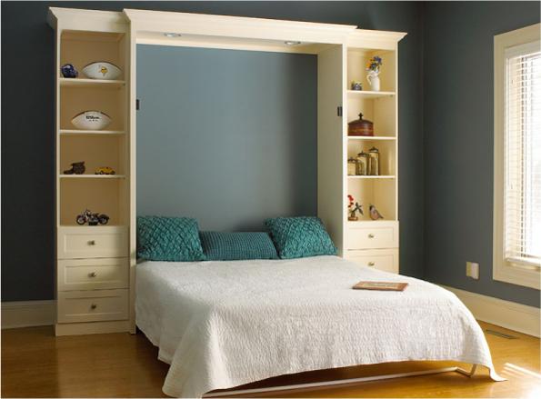 Двуспальная кровать-шкаф с полками