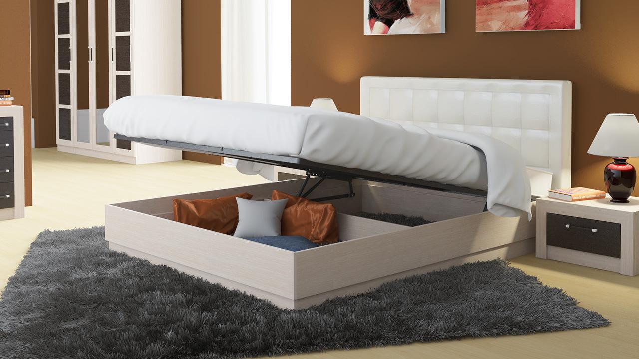 Двуспальная подъемная кровать с мягкой спинкой
