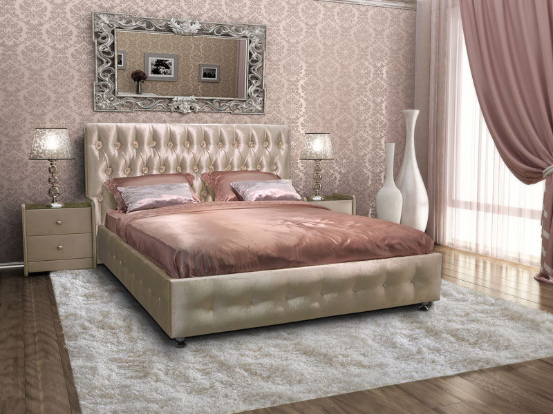 Двуспальные кровати с кожаной обивкой