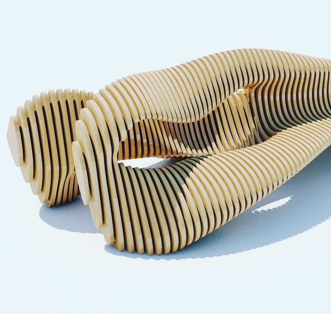 Фрагмент параметрической скамьи