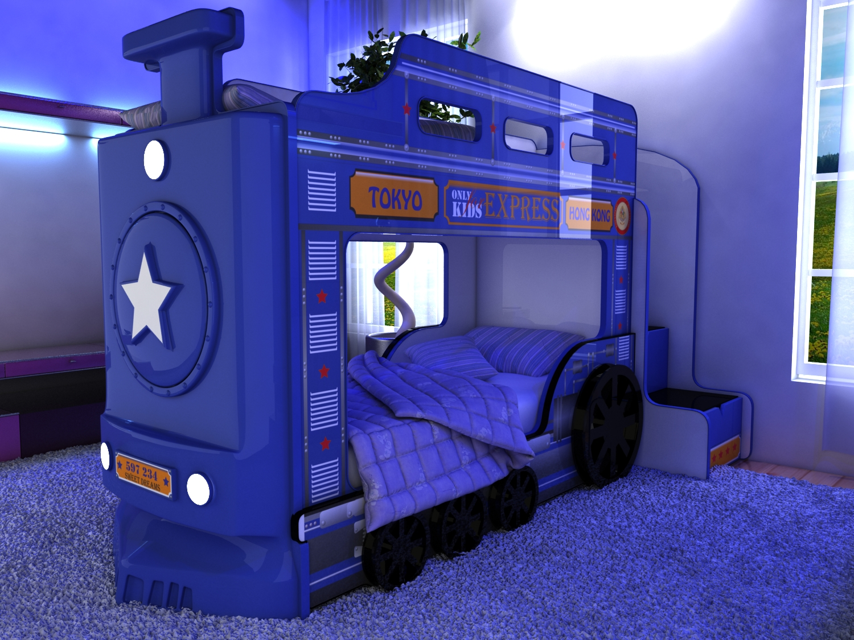 Голубая мебель в виде поезда
