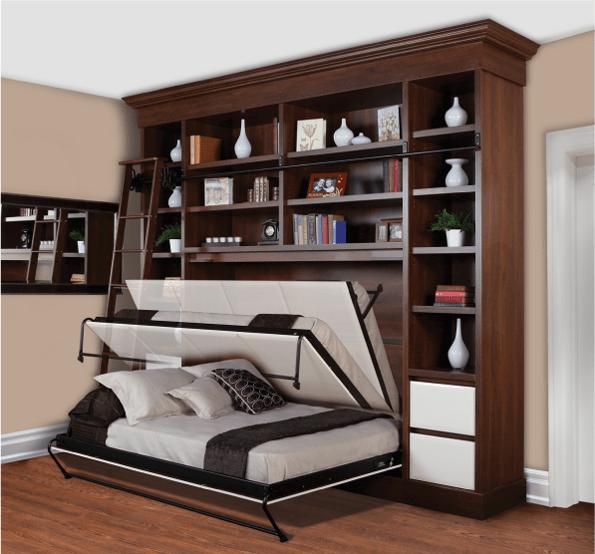 Горизонтальная двуспальная шкаф-кровать