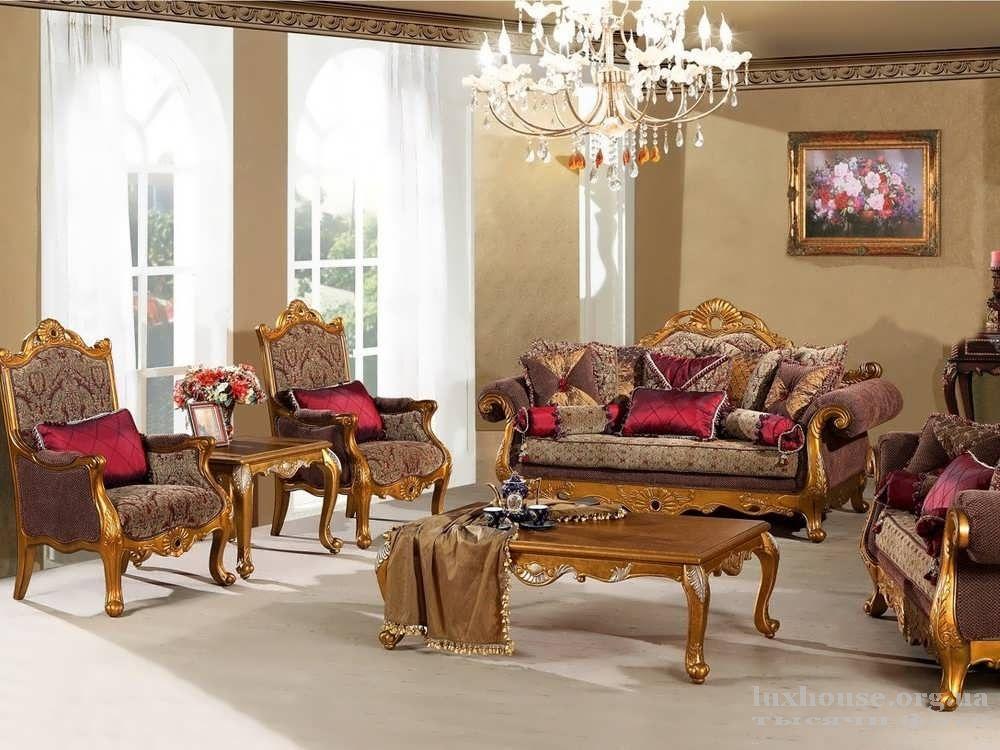 Интерьер гостиной в стиле ампир, шикарная мебель