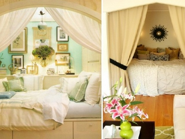 Интерьер спальни с кроватей в нише