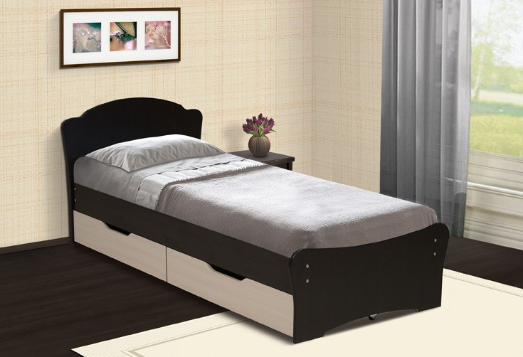 Интерьер спальни с односпальной кроватью