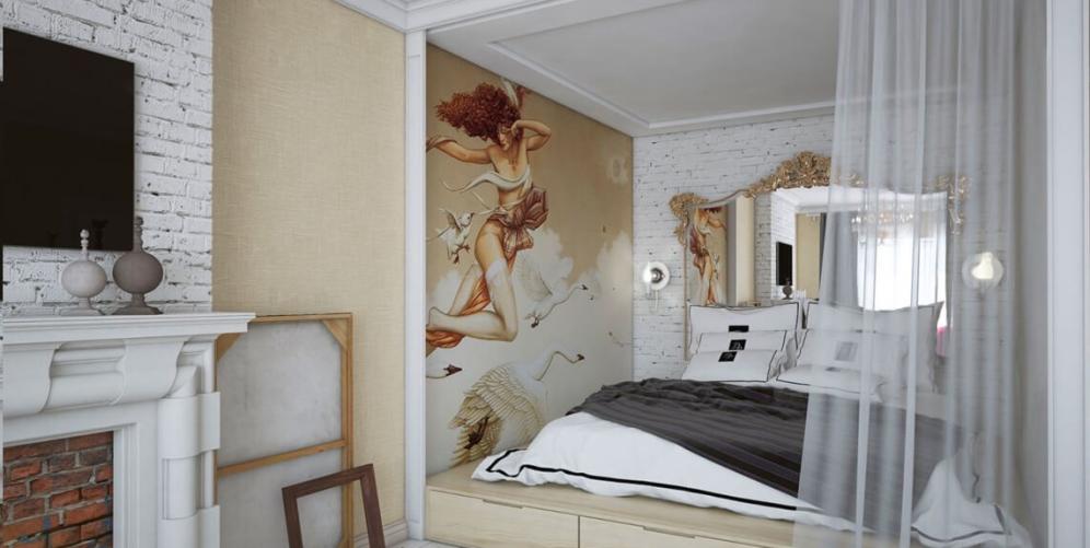 Интересное дизайнерское решение для обустройства спальни