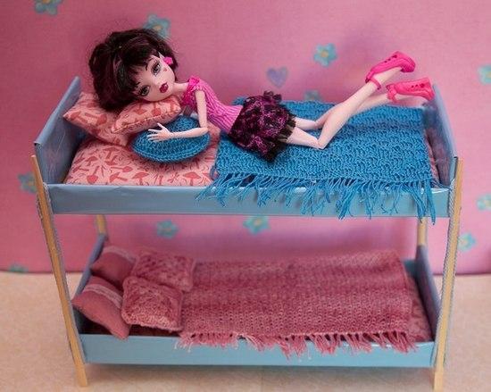 Как сделать двухъярусную кровать куклам