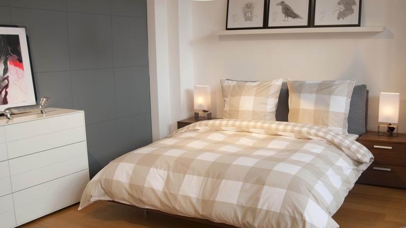 Клетчатый текстиль для кровати