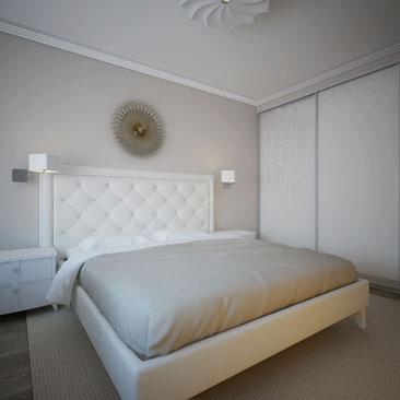 Кофейная спальня с белой мебелью
