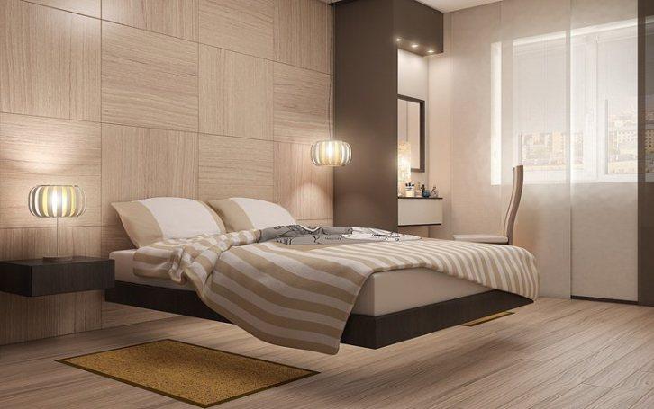 Красивая спальня в стиле минимализм с ливитирующей кроватью