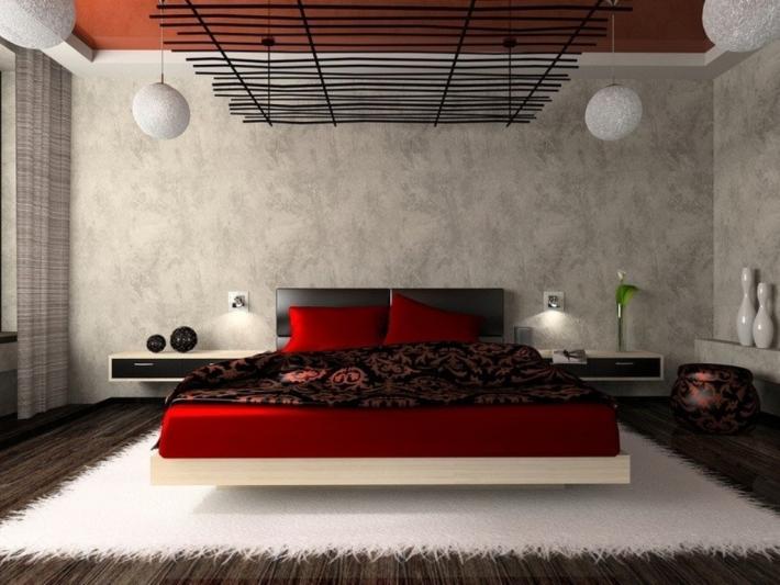 Красный цвет в спальне