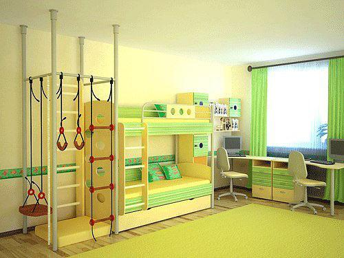 Кровать 2х ярусная со скалодромом
