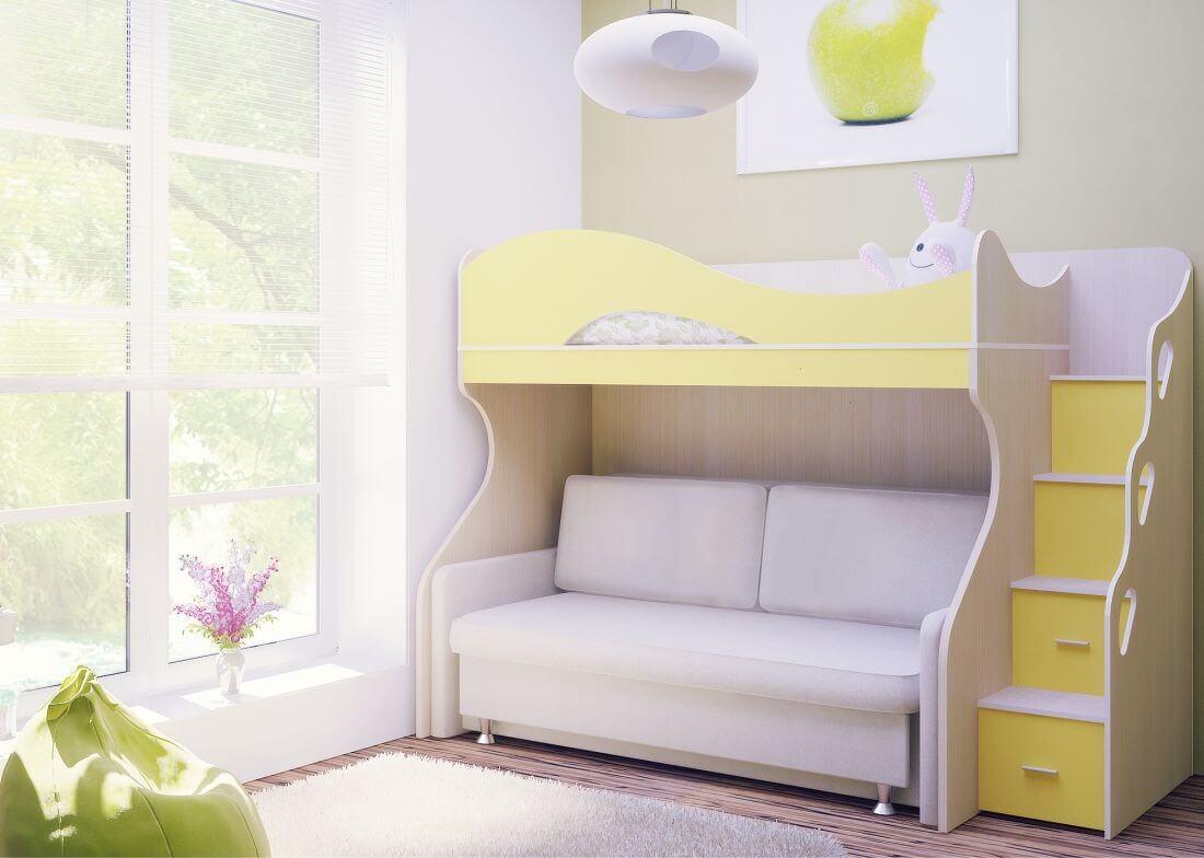 Кровать-чердак с диваном белого цвета