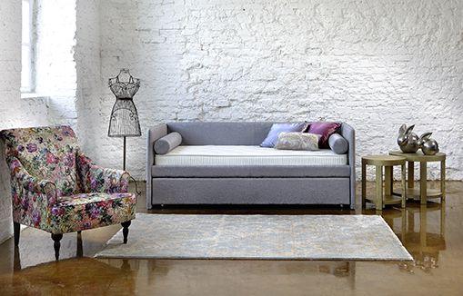 Кровать-диван для подростков серого цвета