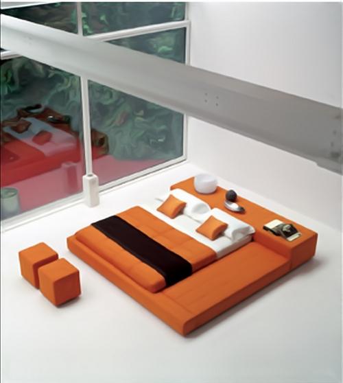 Кровать для спальни в японском стиле в оранжевом цвете