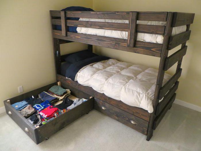 Кровать из двух практичных ярусов с ящиками