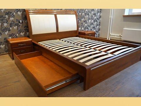 Кровать из массива бука с применением кожи