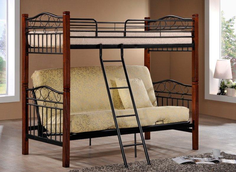 Кровать на основе дерева и металла