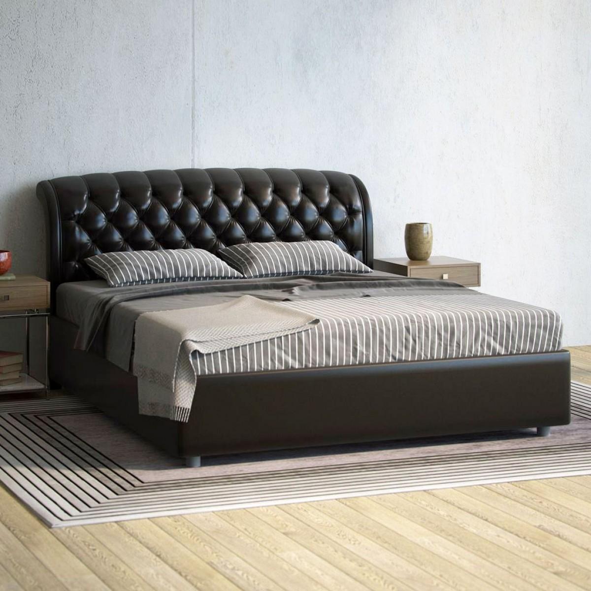 Кровать на основе натуральной кожи