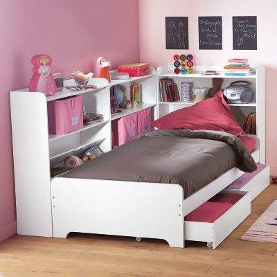 Кровать односпальная с ящиками и стеллажами
