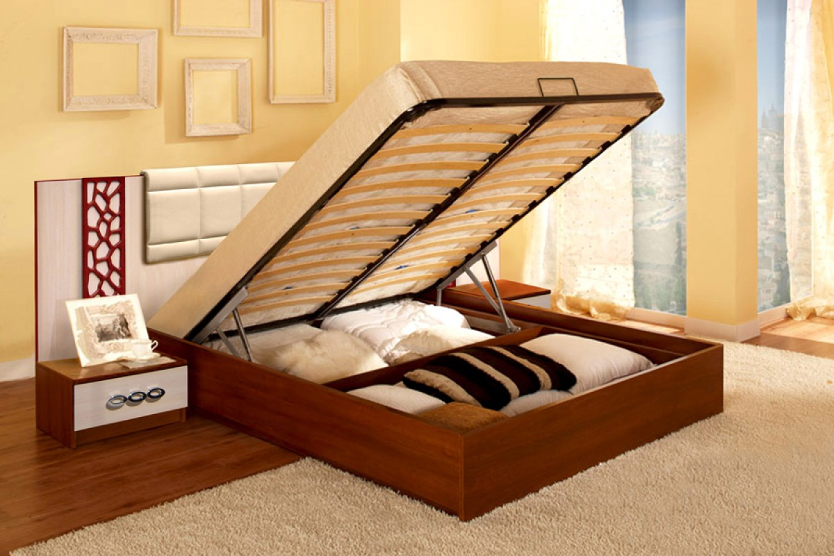 Кровать с подъемным механизмом представляет собой ровное основание