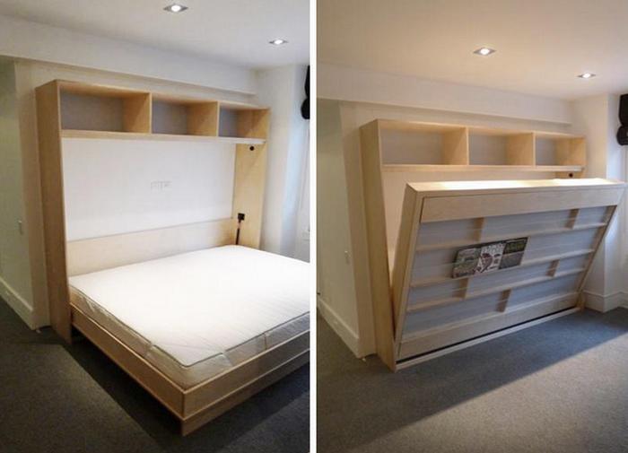 Кровать, встроенная в стену в спальне