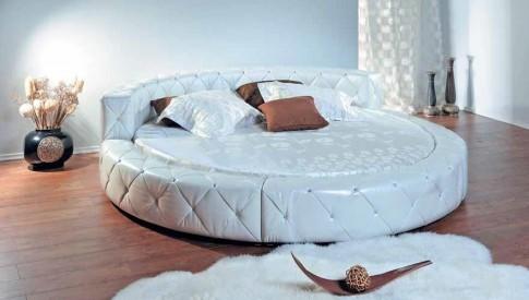 Круглая кожаная кровать