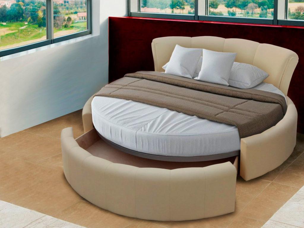 Круглая кровать с выдвижным бельевым ящиком