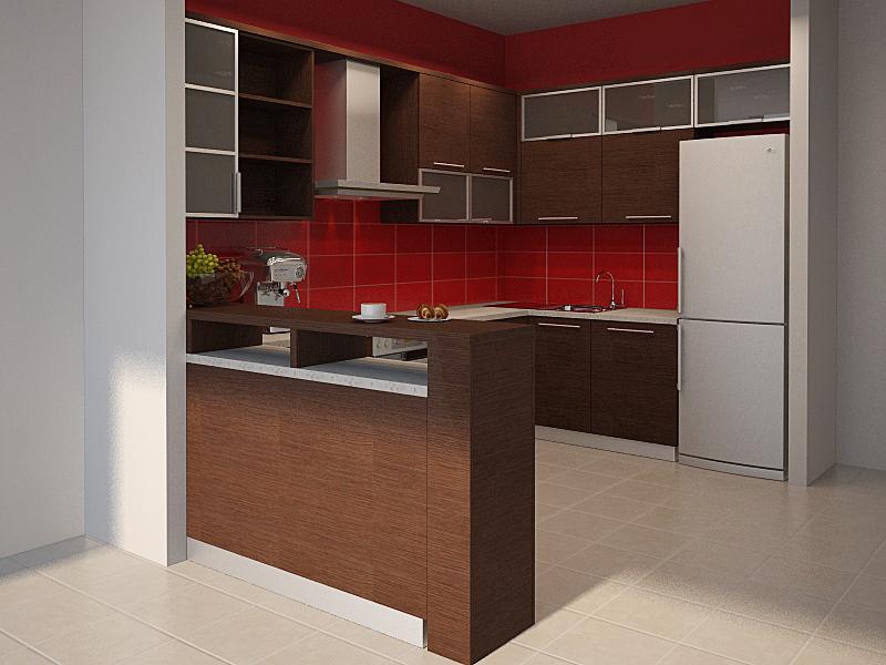 Кухня зонированная