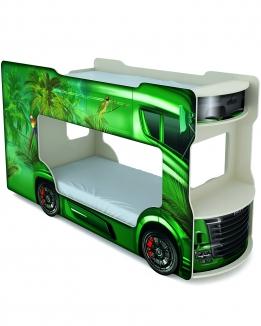 Левосторонняя зеленая кровать автобус с колесами