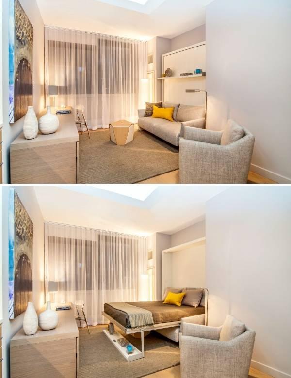 Маленькая комната со встроенной мебелью