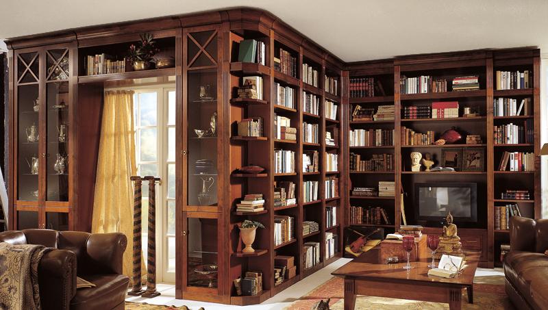 Мебель для домашней библиотеки в классическом стиле