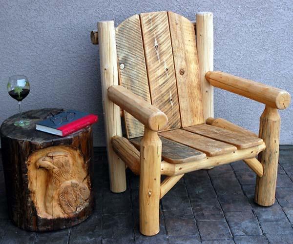 Мебель из бревен и веток