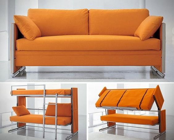 Мебель-трансформер из дивана в двухуровневую кровать