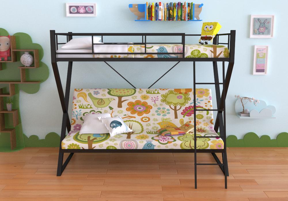 Металлическая двухъярусная кровать-диван