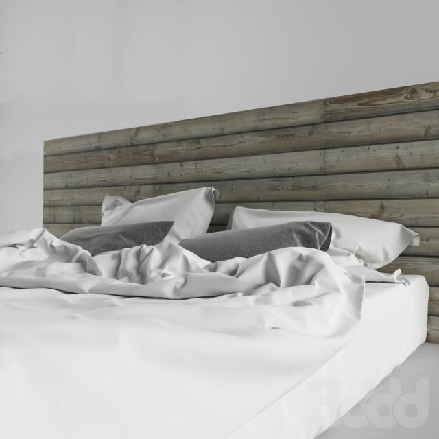 Модель деревянной кровати в стильном оформлении