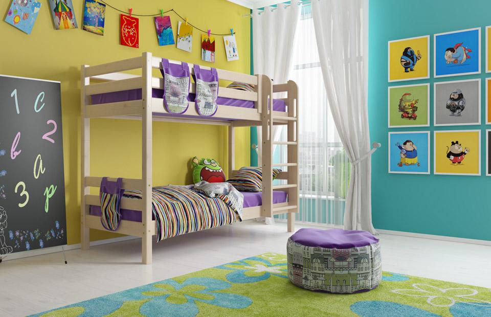 Модель кровати с двумя ярусами и лестницей