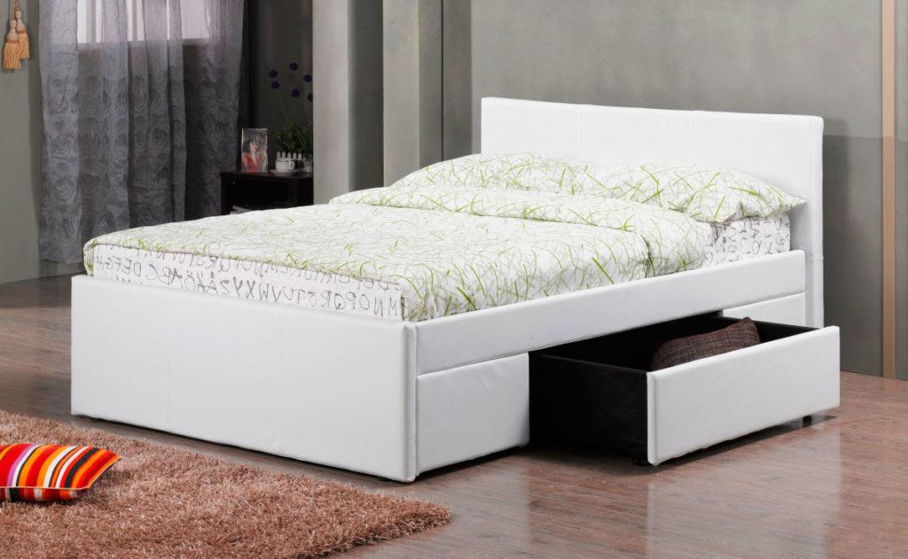 Мягкая полутороспальная кровать с ящиками