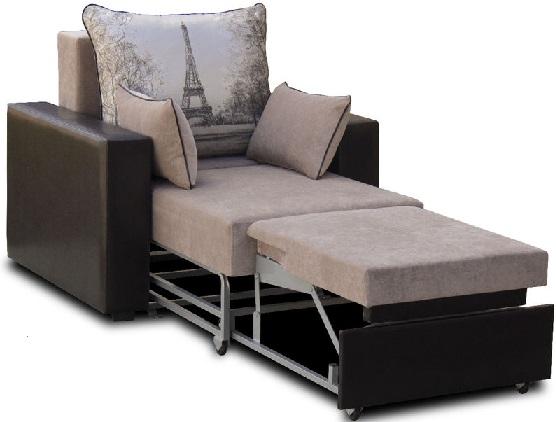 Наиболее комфортабельны по этому параметру кресла-кровати без подлокотников