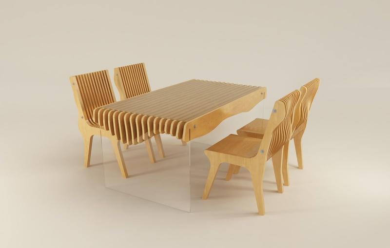 Обеденная группа на основе уникальной мебели