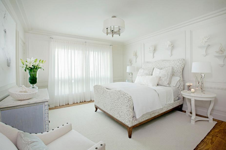 Обустройство спальни в белом цвете
