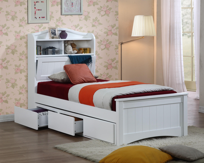 Односпальная кровать с ящиками для хранения вещей