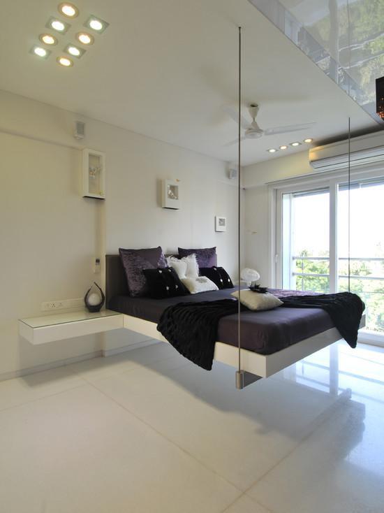 Подвесная кровать в дизайне интерьера