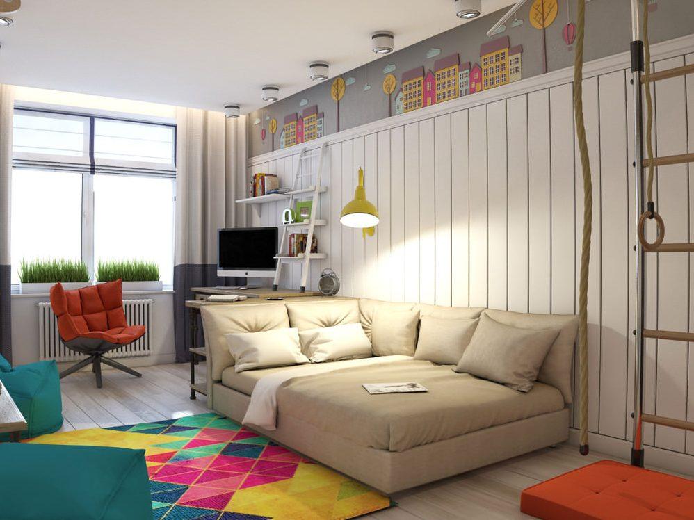 Приятный бежевый оттенок дивана для сна ребенка