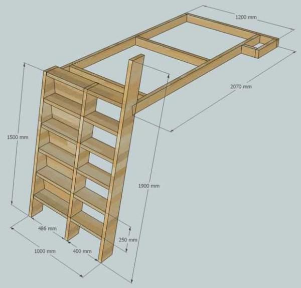 Проект - кровать чердак для девочки