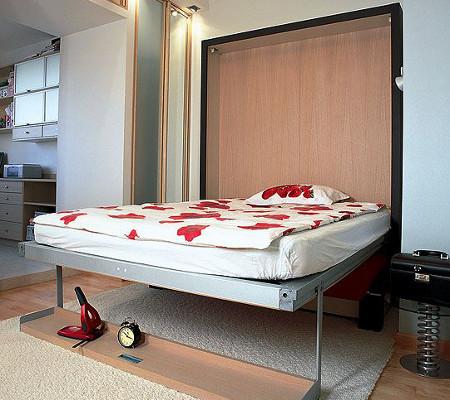 Расположение спального ложе внутри стены