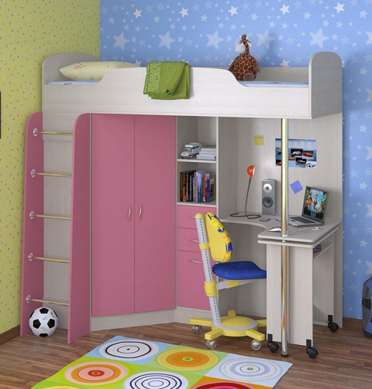 Розо-белые предметы мебели для комнаты ребенка