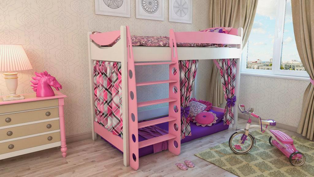 Розовая двухъярусная кровать с лестницей