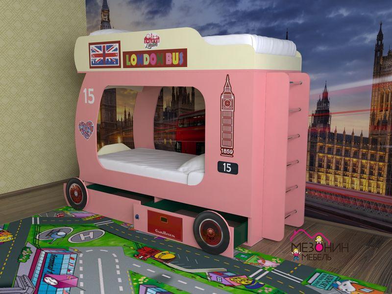 Розовая кровать-автобус для девочки